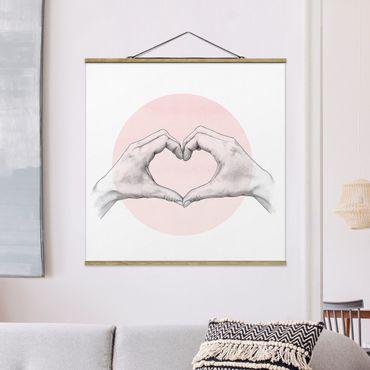 Stoffbild mit Posterleisten - Laura Graves - Illustration Herz Hände Kreis Rosa Weiß - Quadrat 1:1
