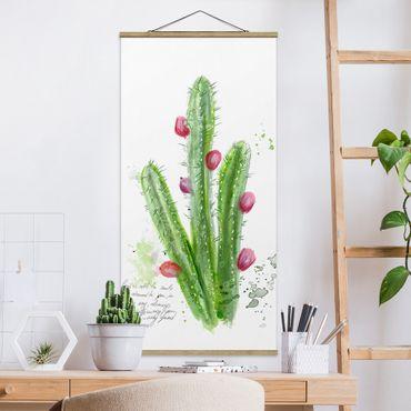 Stoffbild mit Posterleisten - Kaktus mit Bibelvers II - Hochformat 2:1