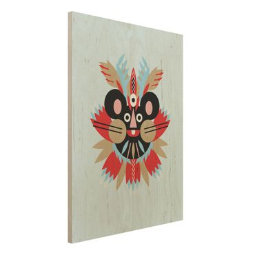 Holzbild - Collage Ethno Maske - Maus - Hochformat 4:3