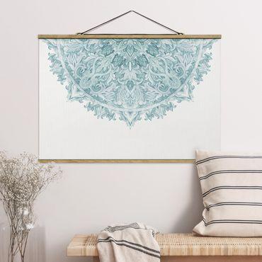 Stoffbild mit Posterleisten - Mandala Aquarell Ornament halbkreis türkis - Querformat 2:3