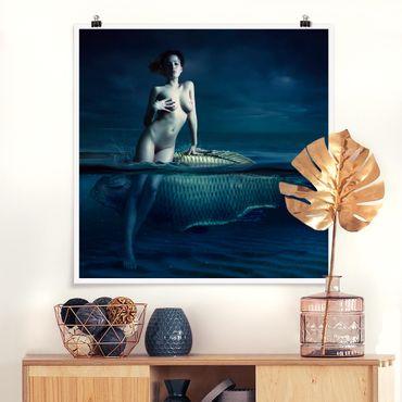 Poster - Frauenakt mit Fisch - Quadrat 1:1