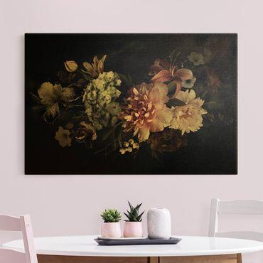 Leinwandbild Gold - Blumen mit Nebel auf Schwarz - Querformat 3:2