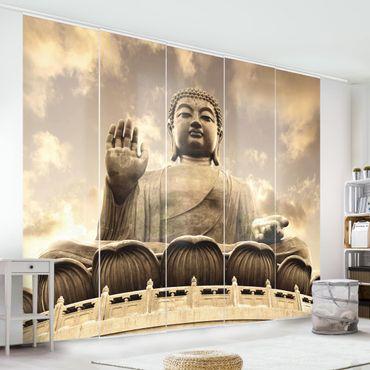 Schiebegardinen Set - Großer Buddha Sepia - Flächenvorhänge