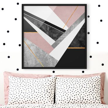 Bild mit Rahmen - Schwarz Weiß Geometrie mit Gold - Quadrat 1:1