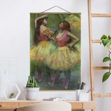 Stoffbild mit Posterleisten - Edgar Degas - Zwei Tänzerinnen - Hochformat 2:3