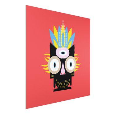Forex Fine Art Print - Collage Ethno Monster - Katze - Quadrat 1:1
