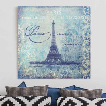 Leinwandbild - Vintage Collage - Paris Mon Amour - Quadrat 1:1