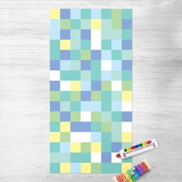 Vinyl-Teppich - Buntes Mosaik Spielwiese - Hochformat 1:2