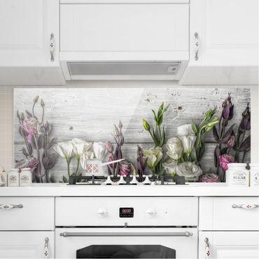 Spritzschutz Glas - Tulpen-Rose Shabby Holzoptik - Panorama - 5:2