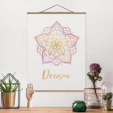 Stoffbild mit Posterleisten - Mandala Illustration Dream gold rosa - Hochformat 4:3