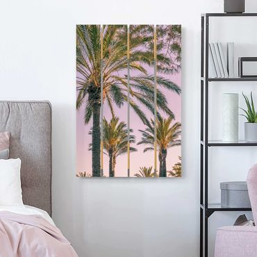 Holzbild - Palmen im Sonnenuntergang - Hochformat 3:2