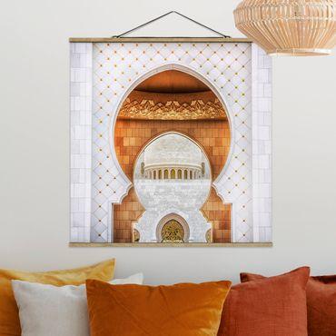 Stoffbild mit Posterleisten - Tor der Moschee - Quadrat 1:1