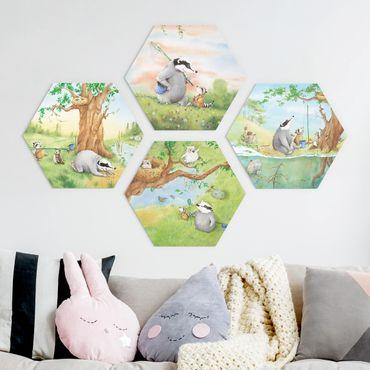 Hexagon Bild Forex 4-teilig - Wassili Waschbär - Wassili und Sibelius - Abenteuer