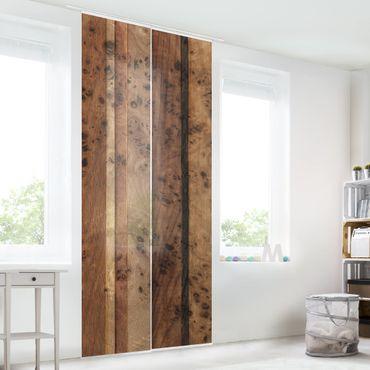 Schiebegardinen Set - Holzwand Bird - Flächenvorhänge