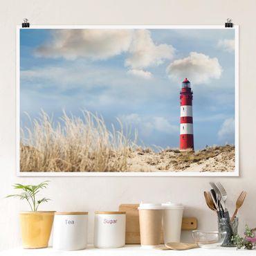 Poster - Leuchtturm in den Dünen - Querformat 2:3