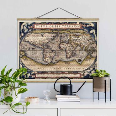 Stoffbild mit Posterleisten - Historische Weltkarte Typus Orbis Terrarum - Querformat 3:4