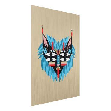 Aluminium Print gebürstet - Collage Ethno Maske - Löwe - Hochformat 4:3