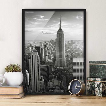 Bild mit Rahmen - Manhattan Skyline - Hochformat 3:4