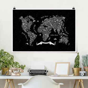 Poster - Typografie Weltkarte schwarz - Querformat 2:3