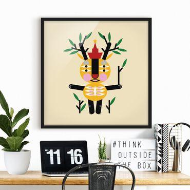 Bild mit Rahmen - Collage Ethno Monster - Hirsch - Quadrat 1:1