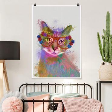 Poster - Regenbogen Splash Katze - Hochformat 3:2