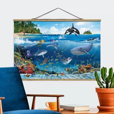 Stoffbild mit Posterleisten - Animal Club International - Unterwasserwelt mit Tieren - Querformat 2:3