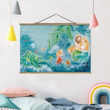 Stoffbild mit Posterleisten - Das Seepferdchen darf bleiben - Querformat 2:3