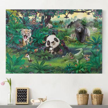 Leinwandbild Kinderzimmer - Animal Club International - Dschungel mit Tieren - Querformat 2:3
