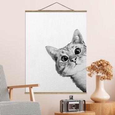 Stoffbild mit Posterleisten - Laura Graves - Illustration Katze Zeichnung Schwarz Weiß - Hochformat 4:3