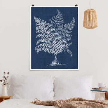 Poster - Denim Pflanzenstudie VI - Hochformat 3:4