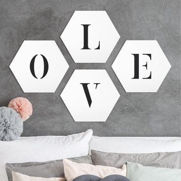 Hexagon Bild Forex 4-teilig - Buchstaben LOVE Schwarz Set II