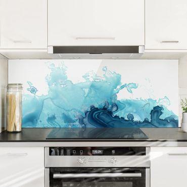 Spritzschutz Glas - Welle Aquarell Blau I - Panorama - 5:2