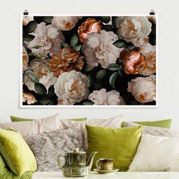 Poster - Rote Rosen mit Weißen Rosen - Querformat 2:3