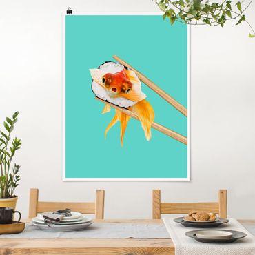 Poster - Jonas Loose - Sushi mit Goldfisch - Hochformat 3:4