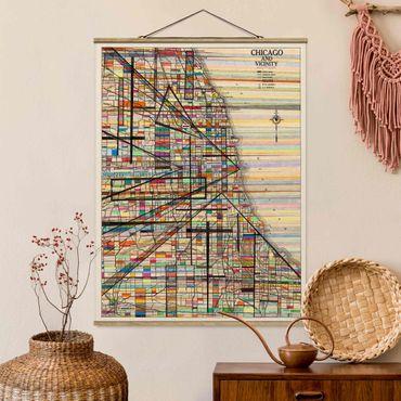 Stoffbild mit Posterleisten - Moderne Karte von Chicago - Hochformat 4:3