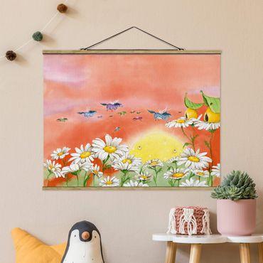 Stoffbild mit Posterleisten - Die Zauberponys fliegen davon - Querformat 4:3