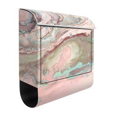 Briefkasten - Farbexperimente Marmor Rose und Türkis