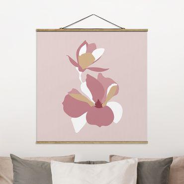 Stoffbild mit Posterleisten - Line Art Blüten Pastell Rosa - Quadrat 1:1