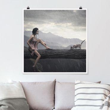 Poster - Jane in the rain - Quadrat 1:1
