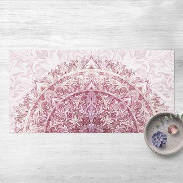 Vinyl-Teppich - Mandala Aquarell Ornament halbkreis rot - Querformat 2:1