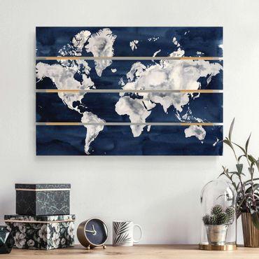 Holzbild - Wasser-Weltkarte dunkel - Querformat 2:3