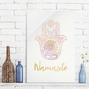 Glasbild - Hamsa Hand Illustration Namaste gold rosa - Querformat 2:3