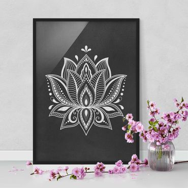 Bild mit Rahmen - Lotus Illustration weiß schwarz - Hochformat 4:3