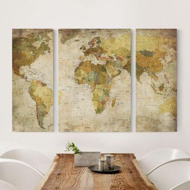 Leinwandbild 3-teilig - Weltkarte - Triptychon
