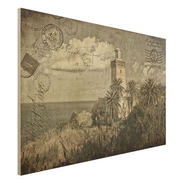 Holzbild - Vintage Postkarte mit Leuchtturm und Palmen - Querformat 2:3