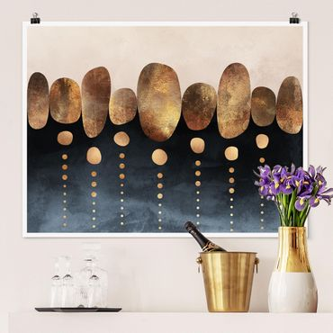 Poster - Abstrakte goldene Steine - Querformat 3:4