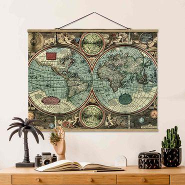Stoffbild mit Posterleisten - Die alte Welt - Querformat 3:4