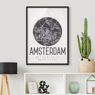 Bild mit Rahmen - Stadtplan Amsterdam - Retro - Hochformat 3:4