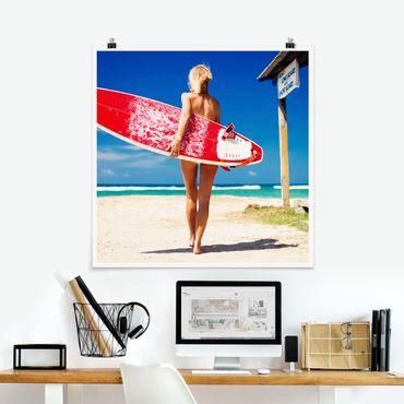 Poster - Surfergirl - Quadrat 1:1