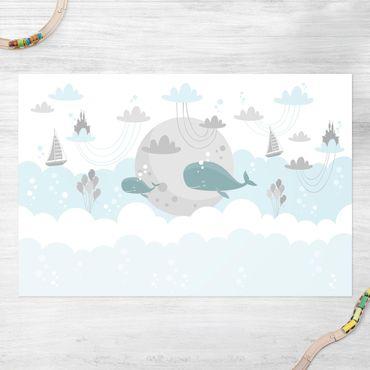 Vinyl-Teppich - Wolken mit Wal und Schloss - Querformat 3:2